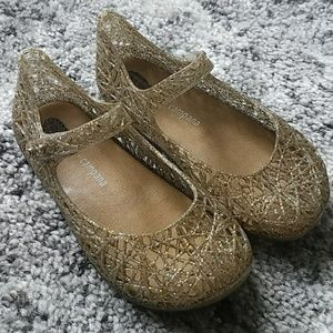 Mini Melissa girls gold jelly shoes
